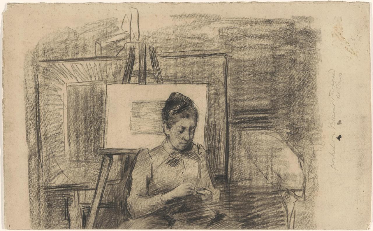 Henriëtte van Rappard in het atelier