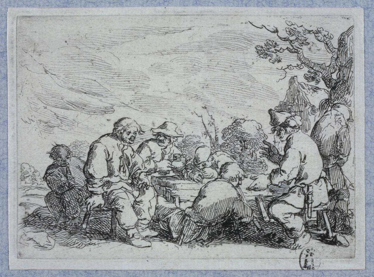Drinkgelag van boeren op een erf