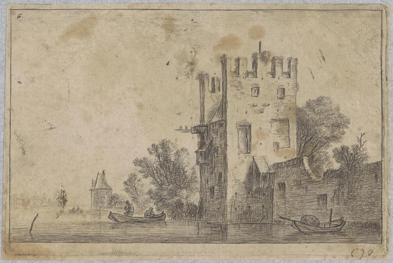 Stadswal met vierkante toren