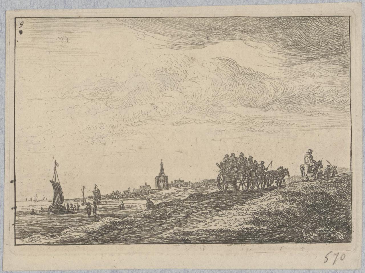 Boerenkar op een weg bij de kust