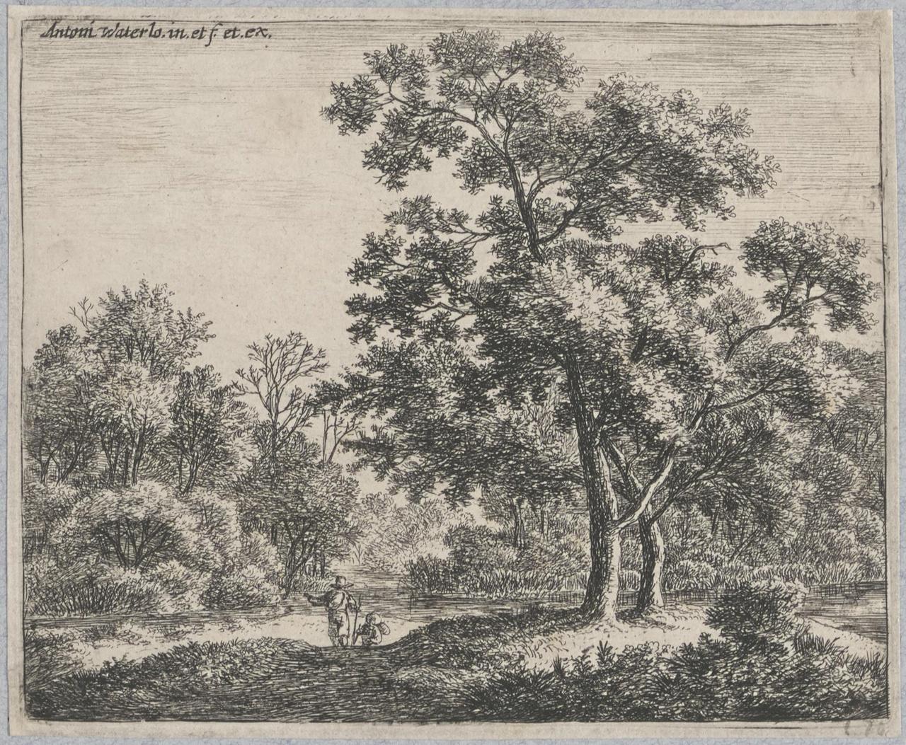 Twee reizigers in een bos
