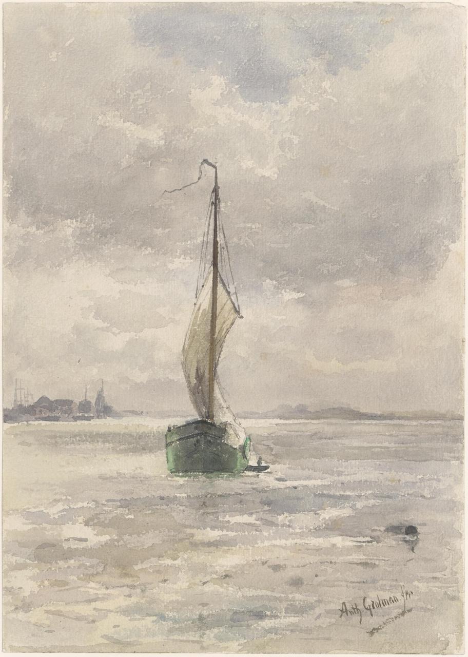 Gezicht op de Merwede bij Dordrecht