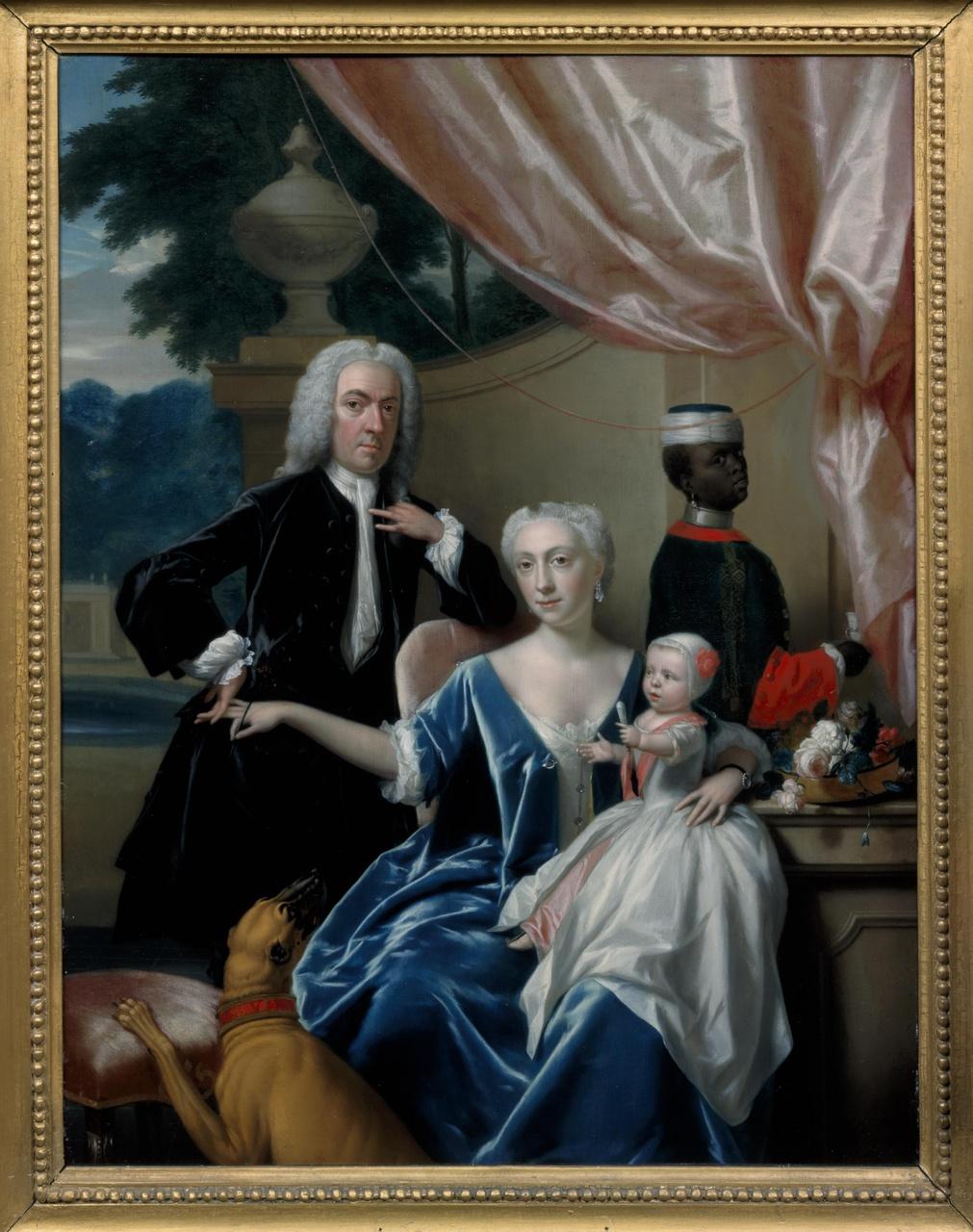 Portret van Johan Frederik van Friesheim (1685-1747), Marie Aimée van Friesheim-de Rapin de Thoyras (1716-1800) en hun zoon Johan Frederik (Godfried) van Friesheim (1738-1776) met een page
