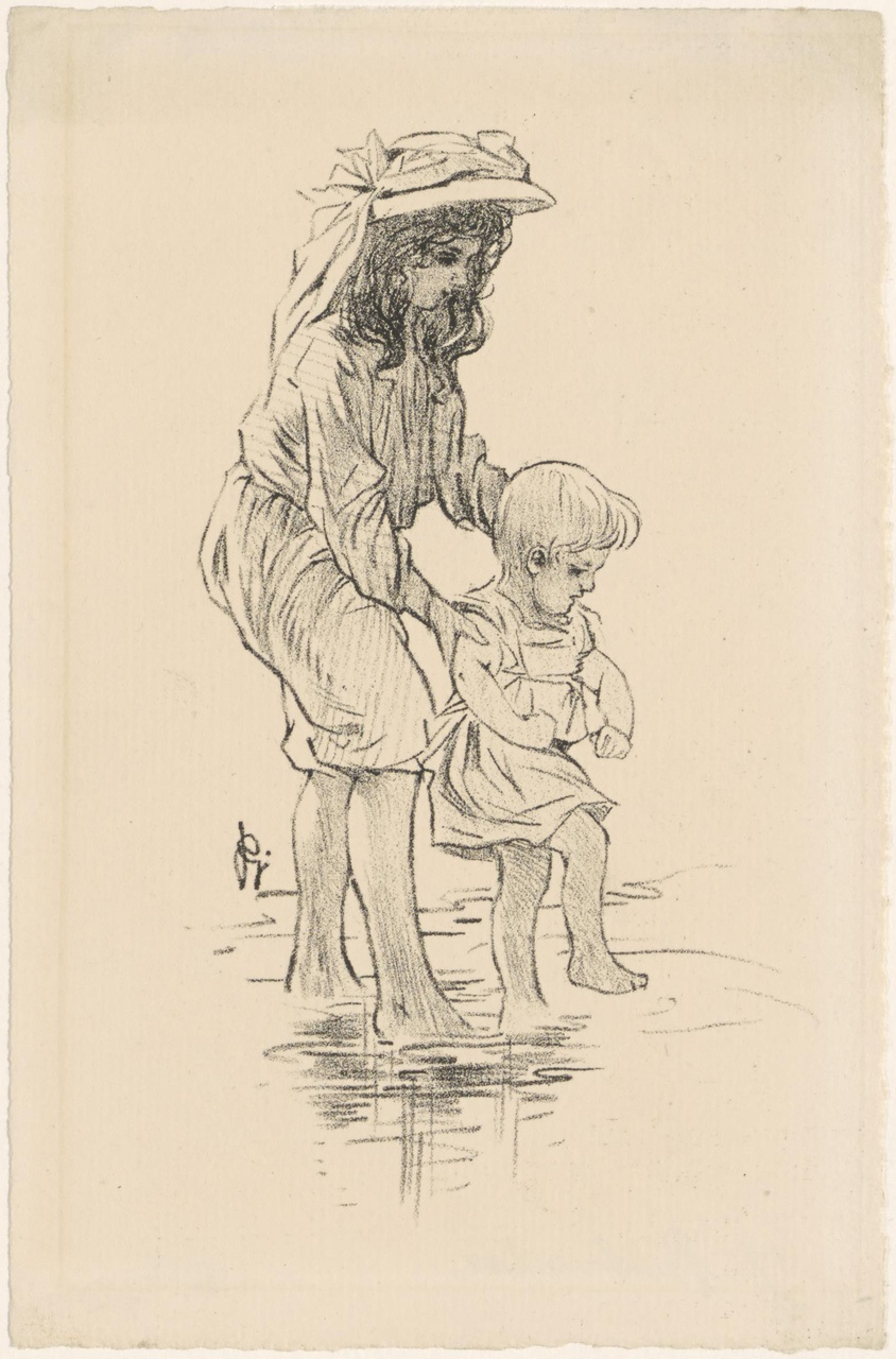 Meisje en kind aan het strand