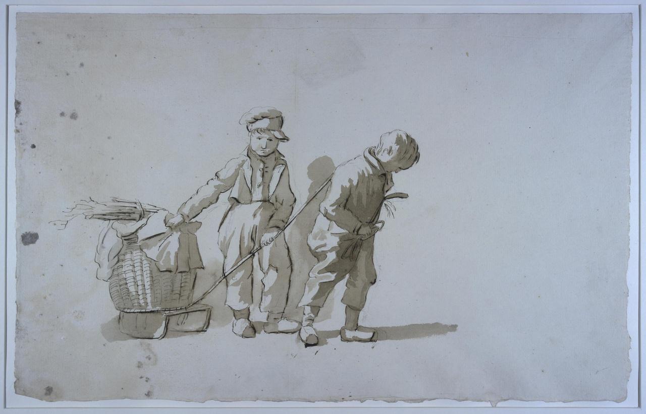 Twee jongens, een mand met hout op een sleetje voorttrekkend
