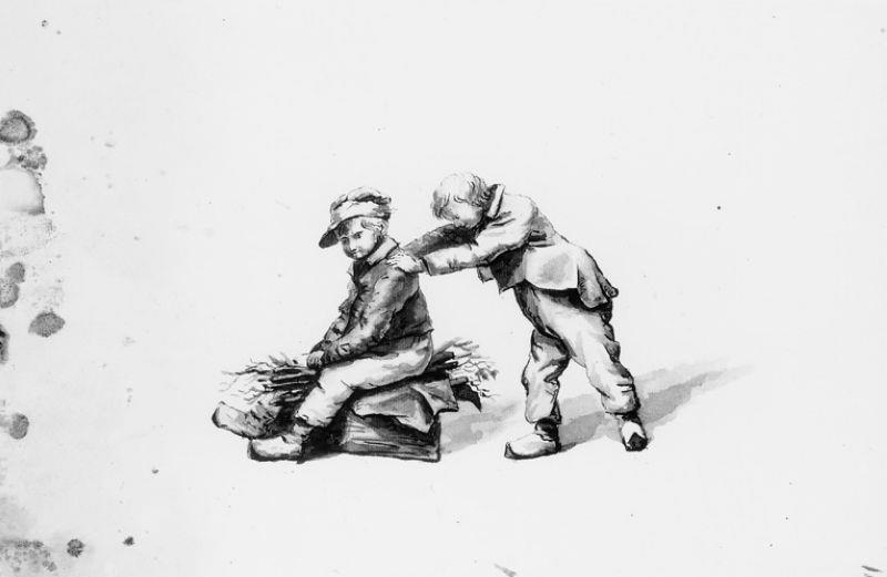 Twee jongens, elkaar op een sleetje voortduwend