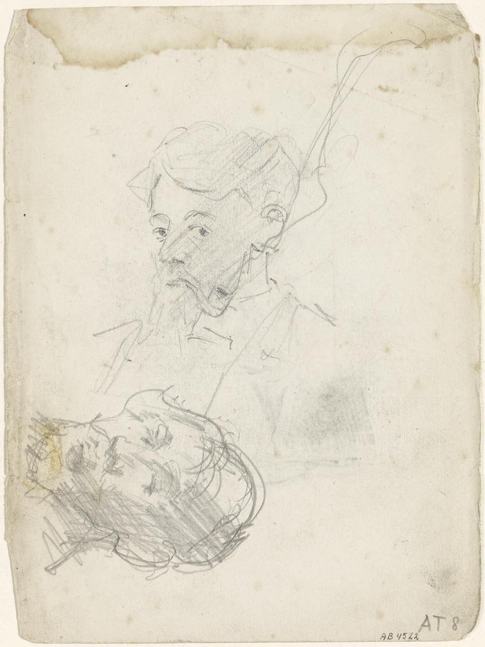Twee zelfportretten, waarvan een met pijp