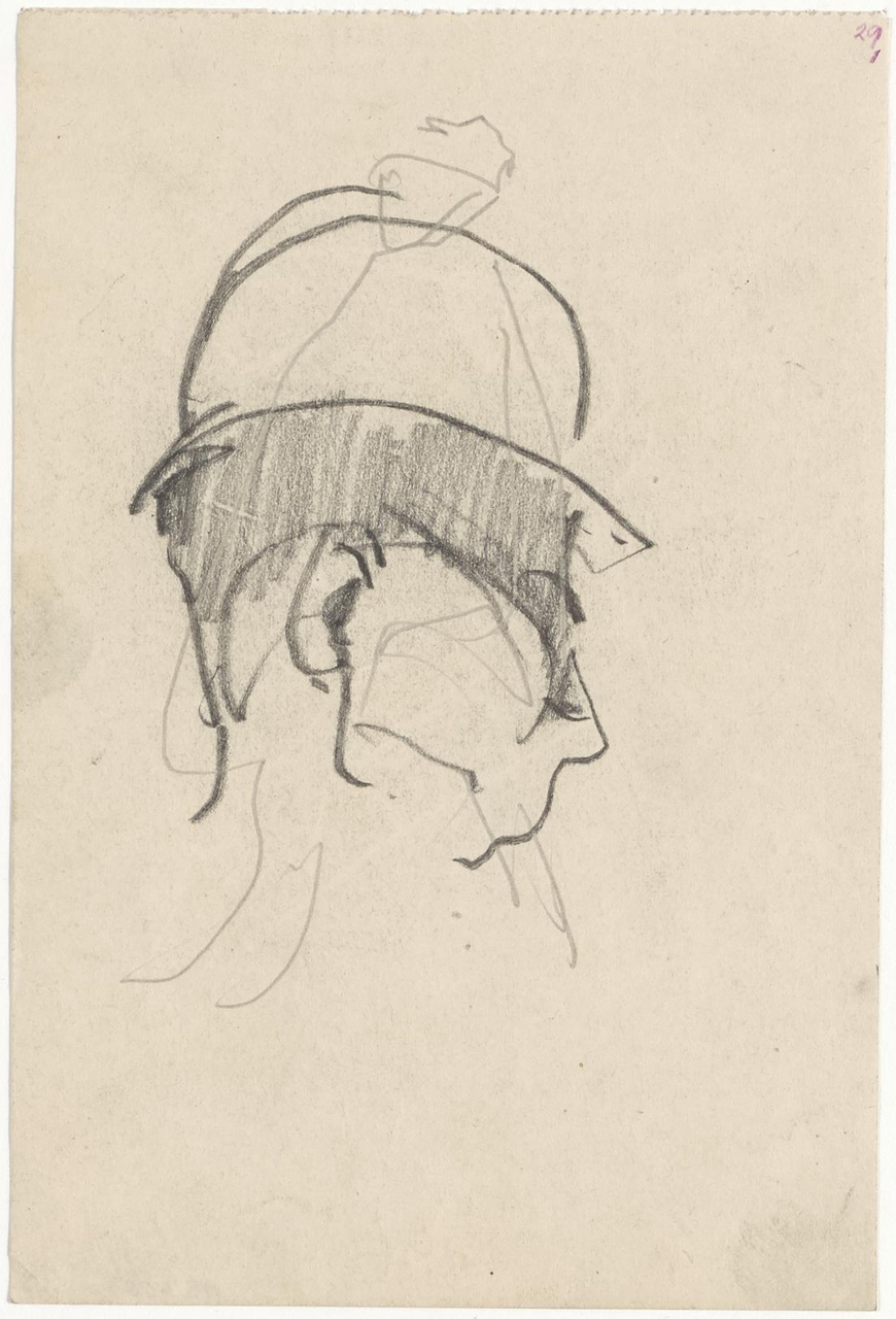 Portret van een mannenkop met politiepet (?)