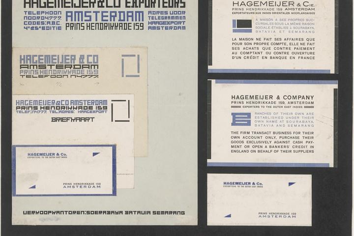 Drukwerk voor Hagemeyer & Co Exporteurs, briefpapier, envelop, briefkaart, visitekaartje, kaart met Franse tekst, kaart met Engelse tekst, visitiekaartje