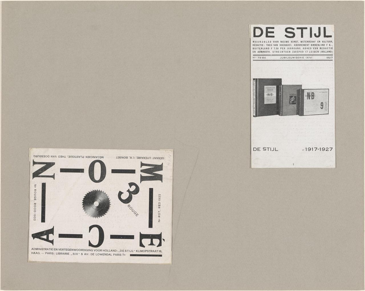 Mécano no. 3 Rouge, Rood, Rot, Red en deel van de omslag (?) van De Stijl no. 79-84, 1927