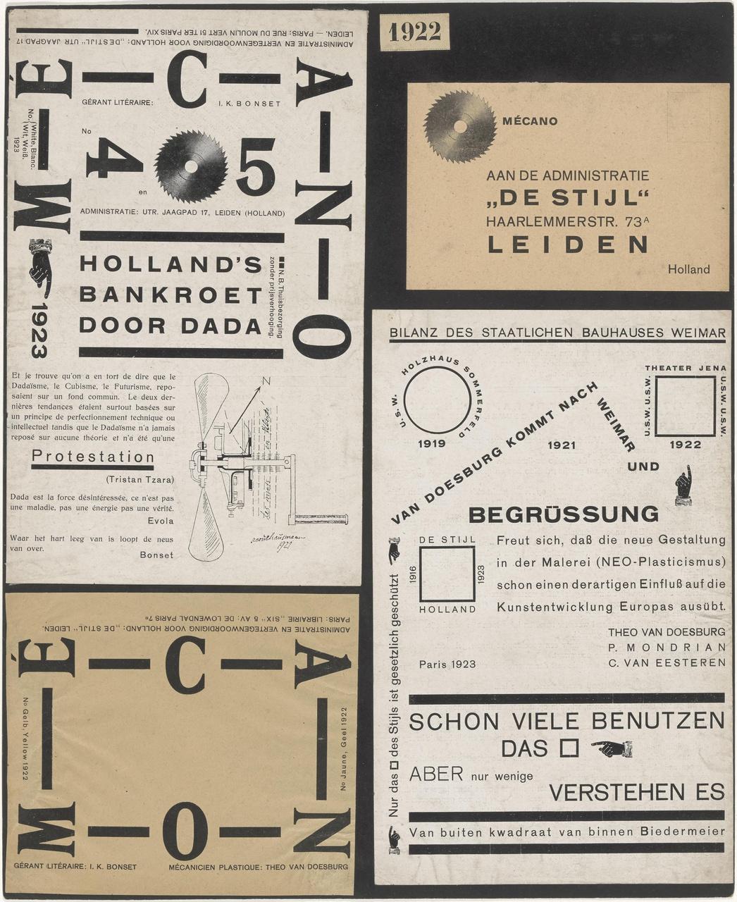 Mécano no. 4/5 White, Blanc, Wit, Weiss (delen daarvan), een deel van Mécano Jaune, Geel, Gelb, Yellow en een adreskaart