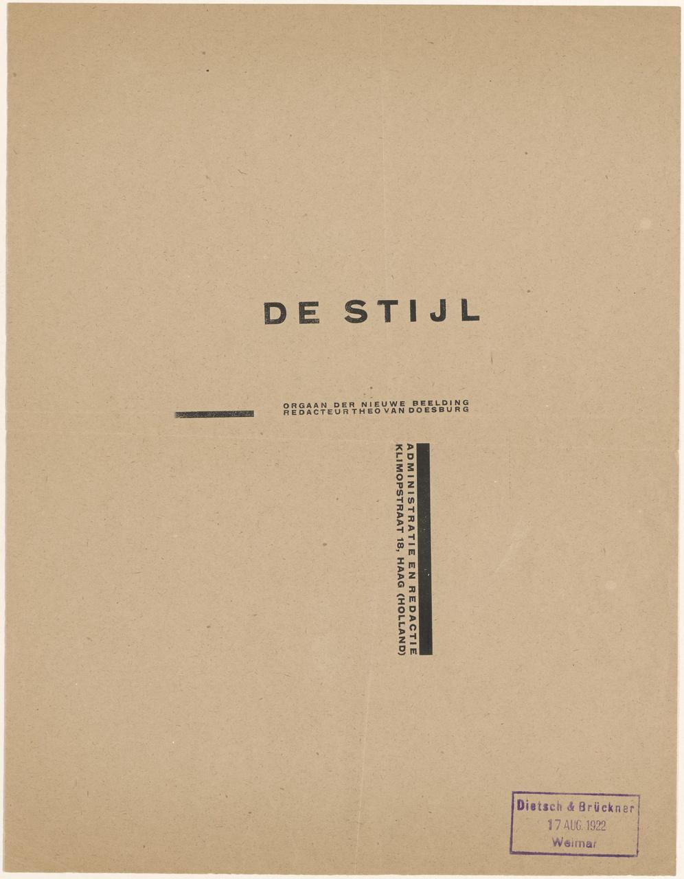 Proefdruk typografie voor De Stijl, ontwerp envelop