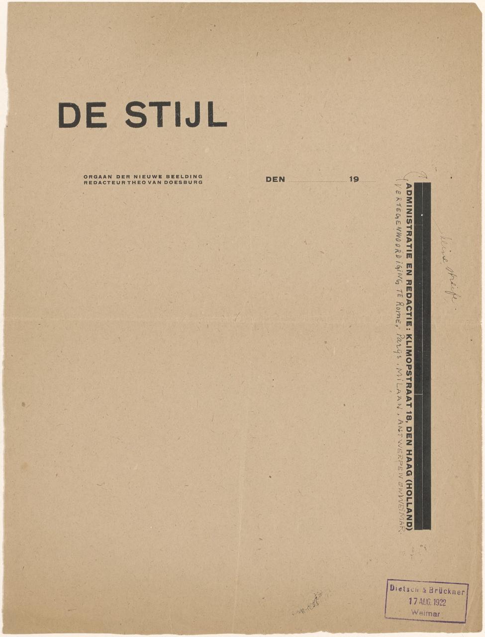 Proefdruk typografie voor De Stijl, ontwerp briefpapier