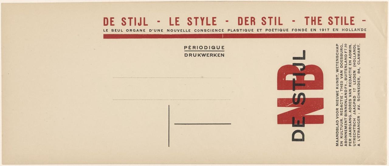 Typografie voor De Stijl, verzendwikkel