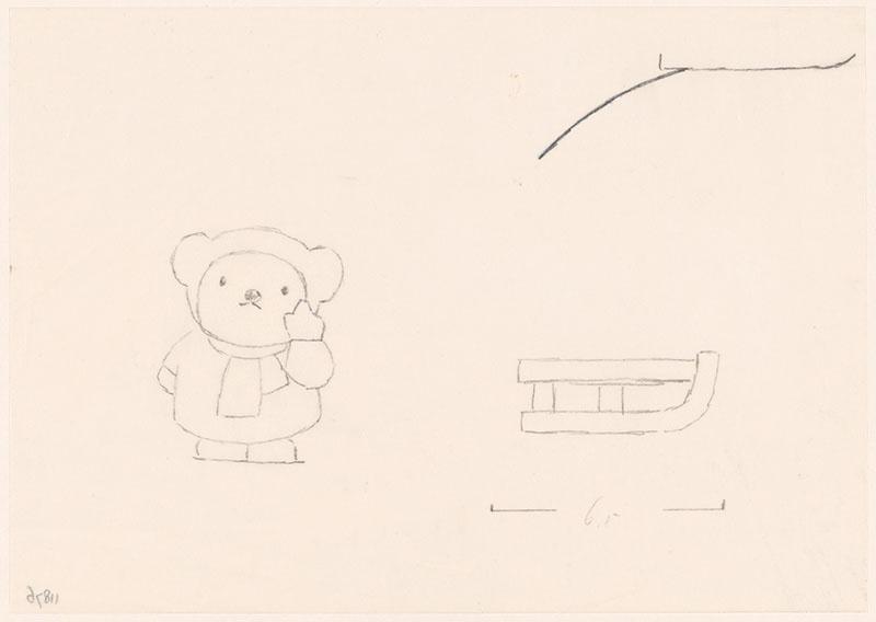 boris in de sneeuw [slee, de heuvel en boris met opgeheven vinger, niet opgenomen in het kinderboek]