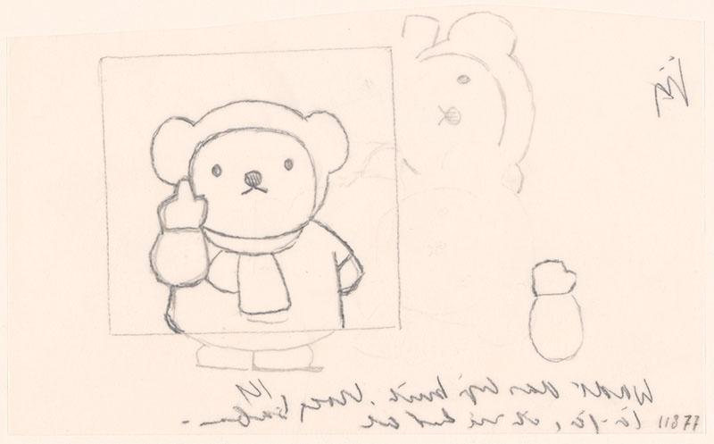 boris in de sneeuw [boris met opgeheven vinger, niet opgenomen in het kinderboek]