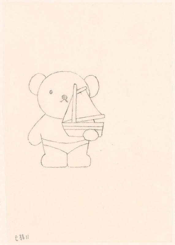 lente zomer herfst en winter [boris in zwembroek met een bootje in zijn hand, niet opgenomen in het kinderboek]