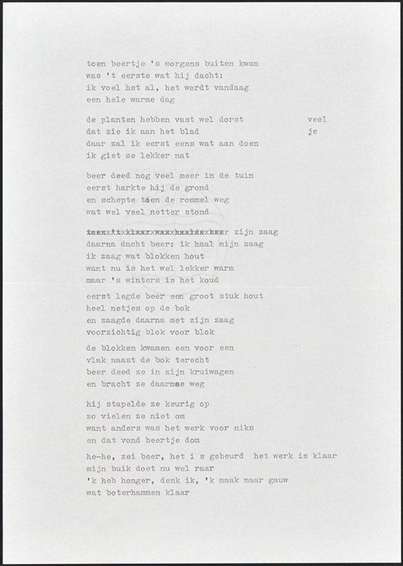 beertje in de tuin, niet uitgegeven [concept tekst (3); latere basis voor boris beer]
