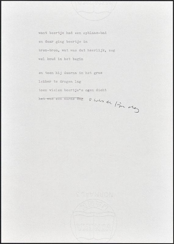 beertje in de tuin, niet uitgegeven [concept tekst (7) van de twee laatste pagina's; latere basis voor boris beer]