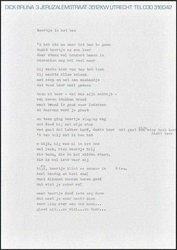 beertje in het bos, niet uitgegeven [waarschijnlijk de meeste definitieve tekst, later gebruikt als basis voor boris en barbara]