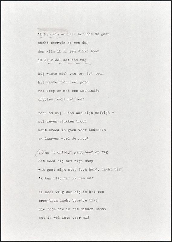 beertje in het bos, niet uitgegeven [concept tekst (2); latere basis voor boris en barbara]