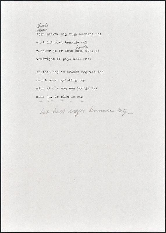 beertje in het bos, niet uitgegeven [concept tekst (3) van de twee laatste pagina's; latere basis voor boris en barbara]