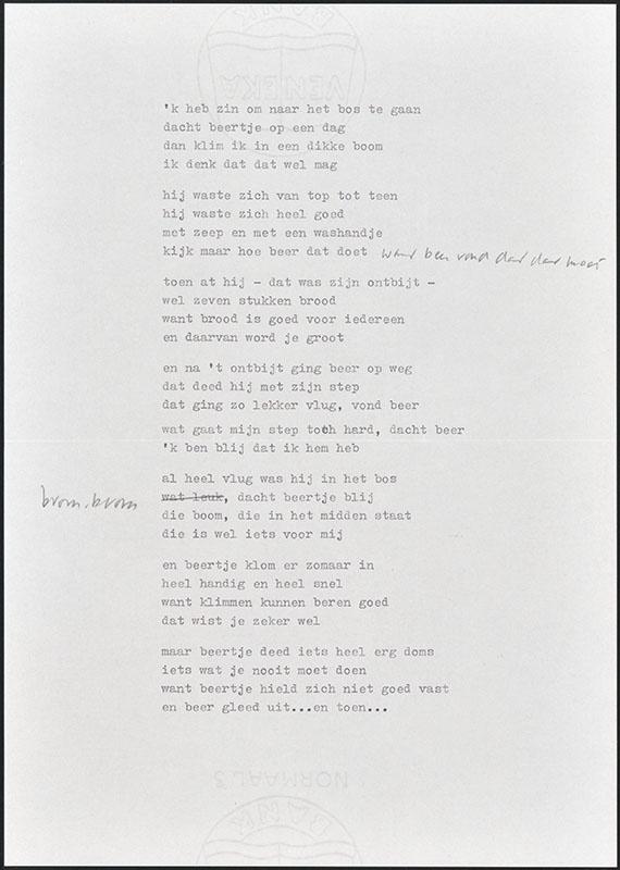 beertje in het bos, niet uitgegeven [concept tekst (5); latere basis voor boris en barbara]