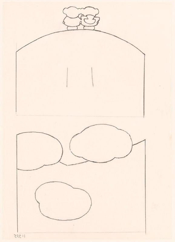 boris op de berg [boris en barbara (op hun rug gezien) op de berg op p. 17 en drie wolken op p. 21]