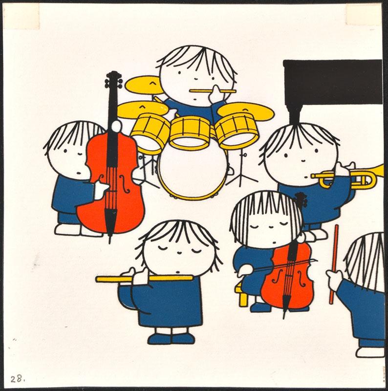 het orkest [eerdere versie van het kinderboek: wij hebben een orkest; met de dirigent op p. 27 en een deel van het orkest op p. 28, niet uitgegeven]