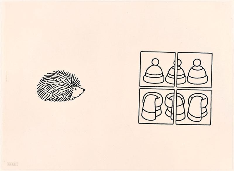 eegje egel [eegje egel op de omslag; dassen en mutsen in een winkelruit op p. 15]