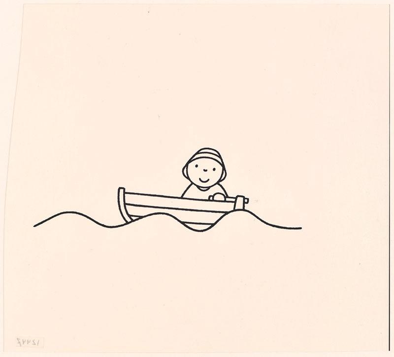 de redding [daan douwe in zijn boot met grotere golven op p. 9]