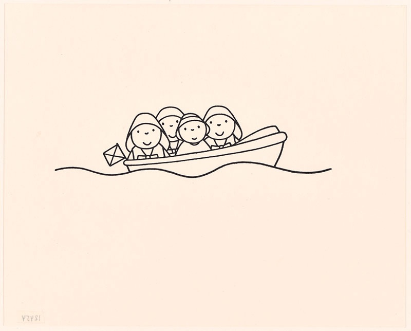 de redding [lachende redders en daan douwe in een boot op p. 27]