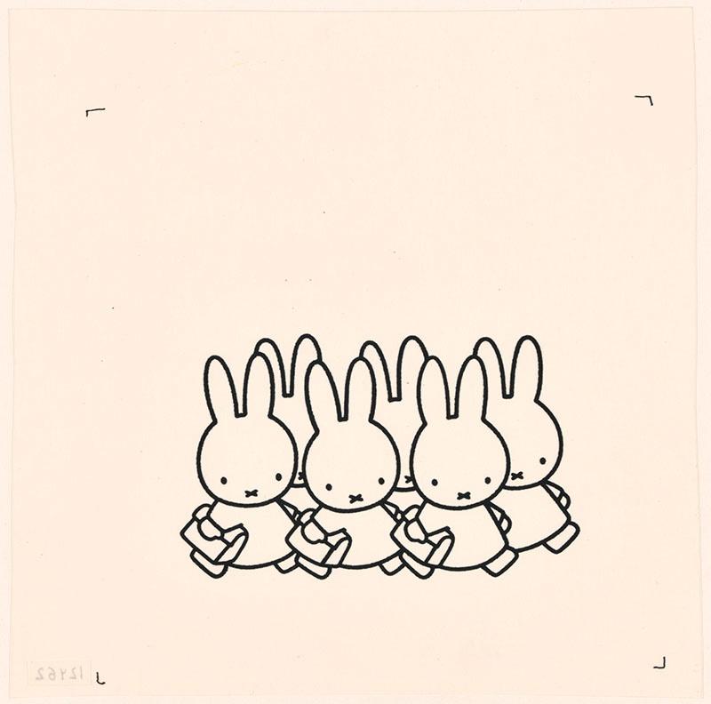 nijntje op school [konijnen met schooltassen op p. 5]