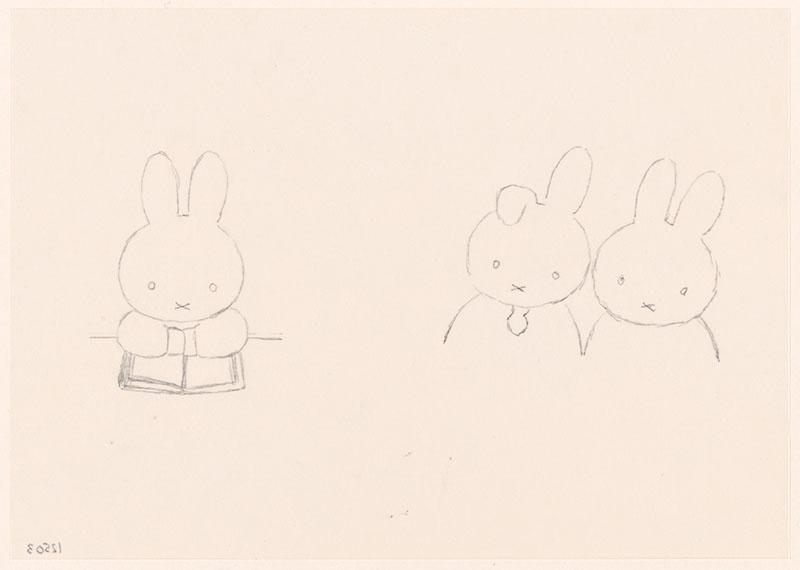 hangoor [portret van hangoor en nijntje op p. 17; nijntje leest een boek, niet opgenomen in het kinderboek]