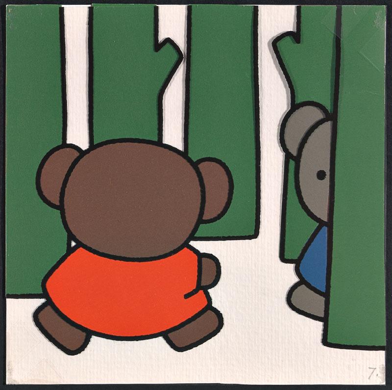 boris en ko [boris ziet ko achter een boom op p. 7 en tekst op p. 8]