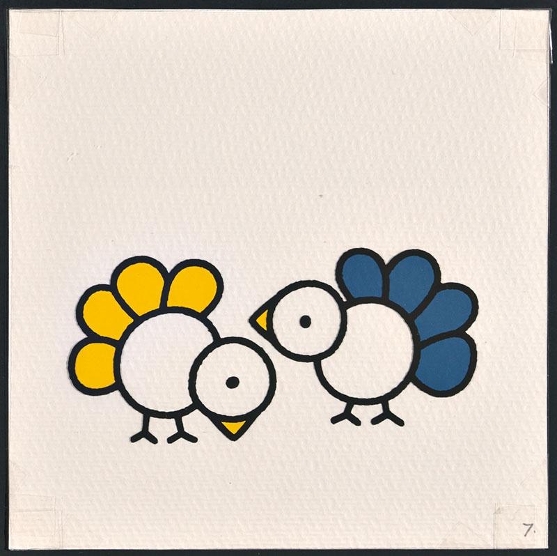 vogel piet [ een vogel met blauwe veren en een met gele op p. 7 en tekst op p. 8]