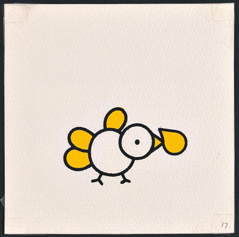 vogel piet [vogel met gele veren waarvan een voor vogel piet op p. 17 en tekst op p. 18]