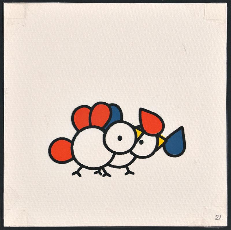 vogel piet [vogels met blauwe en rode veren waarvan een voor vogel piet op p. 21 en tekst op p. 22]