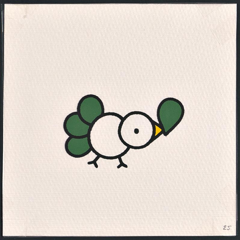 vogel piet [vogel met groene veren waarvan een voor vogel piet op p. 25 en tekst op p. 26]