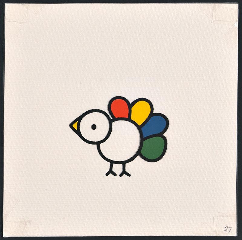 vogel piet [vogel piet met een rode, gele, blauwe en groene veer op p. 27 en tekst op p. 28]