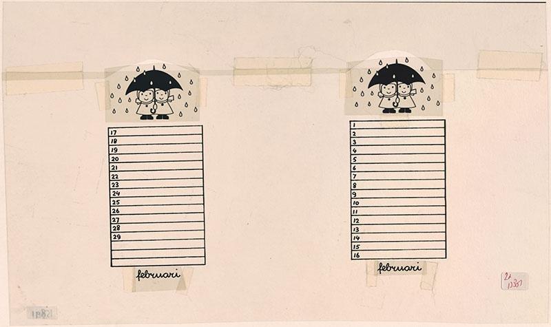 kalenderblad voor de maand februari [twee figuurtjes onder de paraplu in de regen]