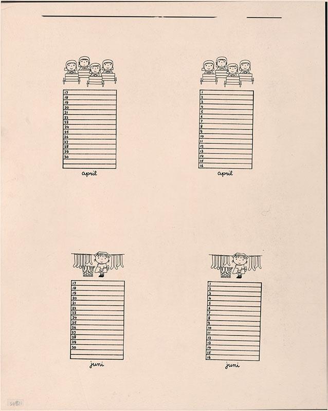 kalenderblad voor de maanden april [vier figuurtjes in zeepkisten] en juni [meisje met wasmand en sokken aan de waslijn]