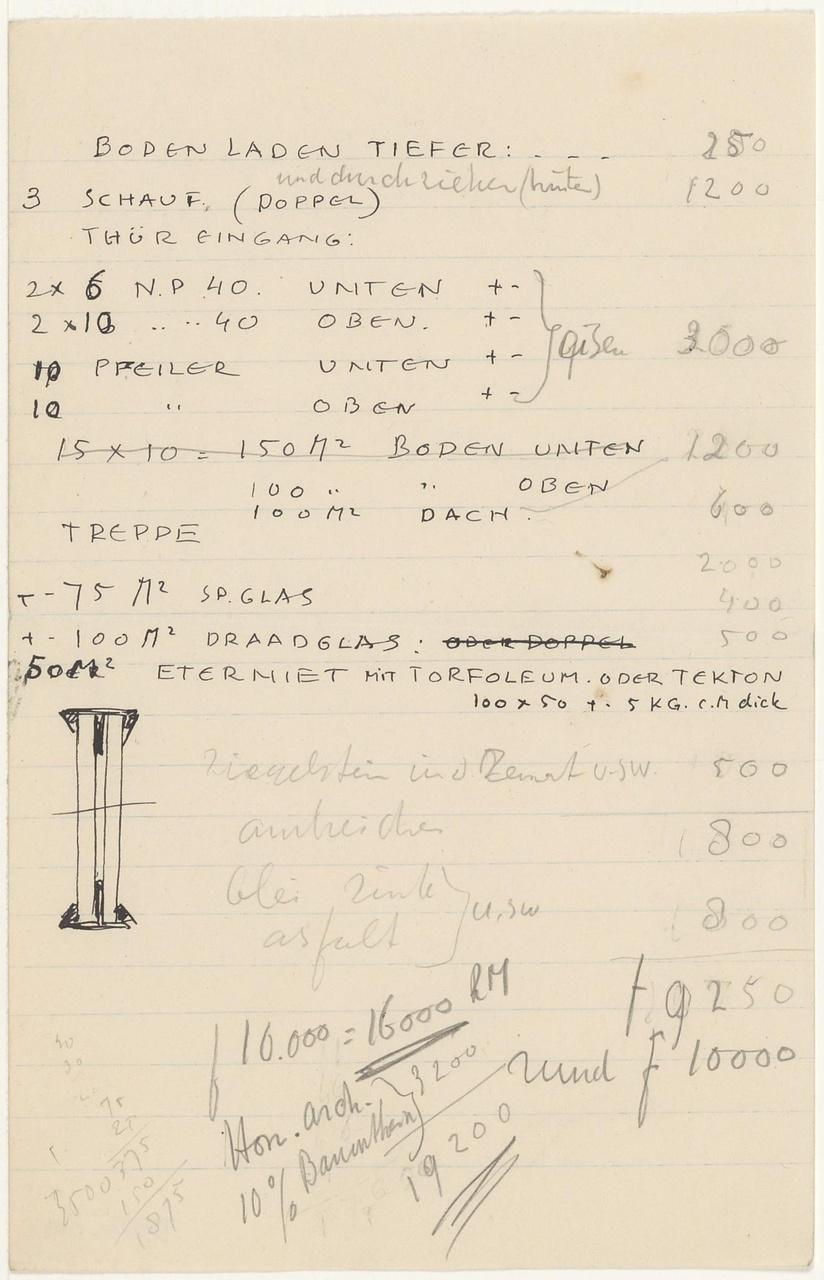Tekeningen, berekeningen en tekst over verbouwing winkel Gonsenheimer, Kleef, Duitsland (1929)