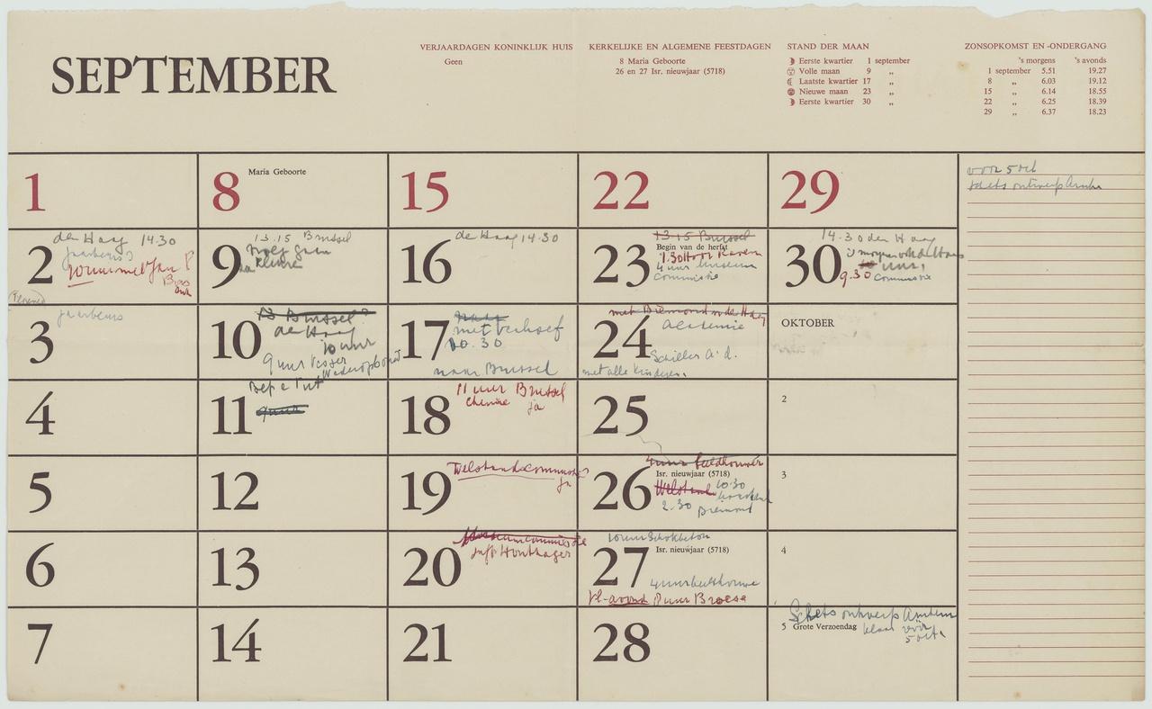 Agendabladen van verschillende jaargangen, niet compleet