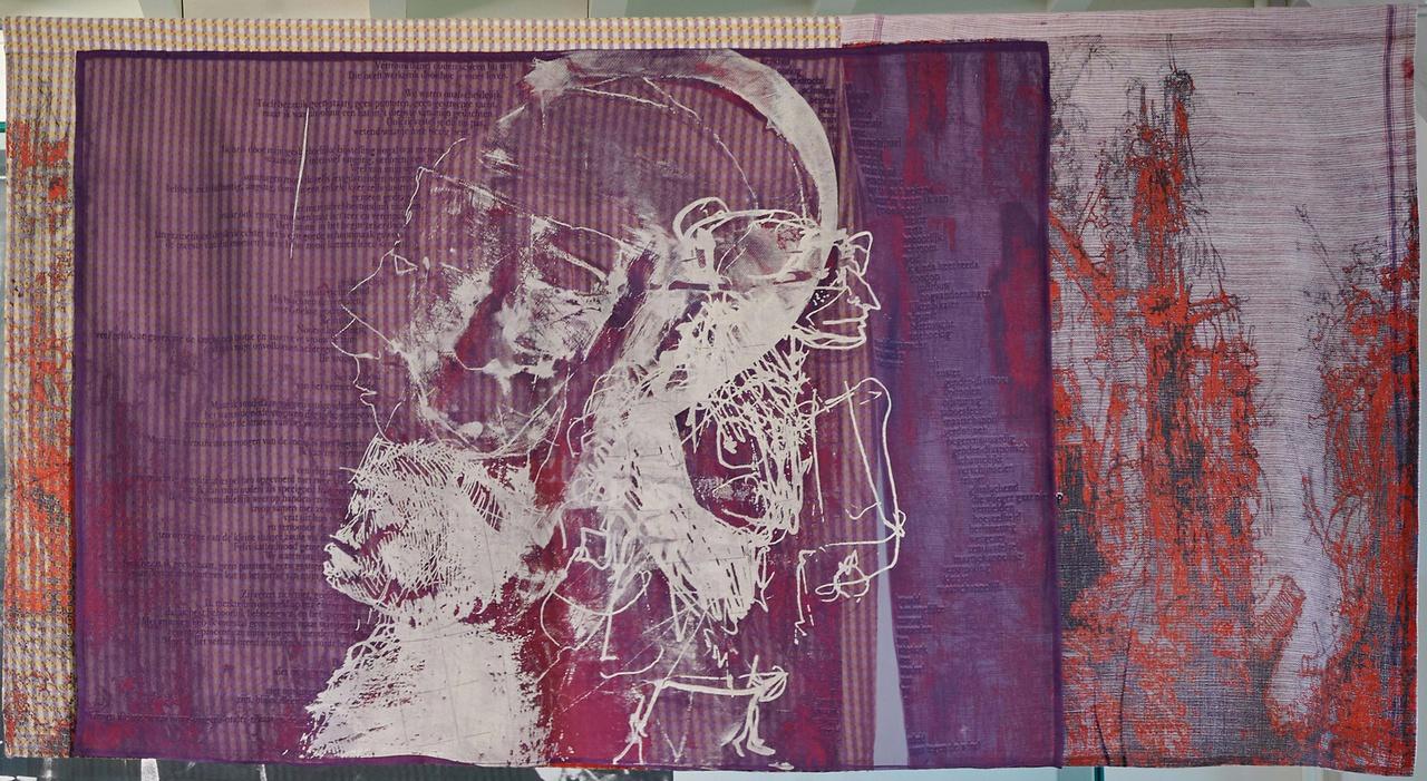De quilt over Dirkje Kuik die Philip Gufler maakte voor het Centraal Museum.