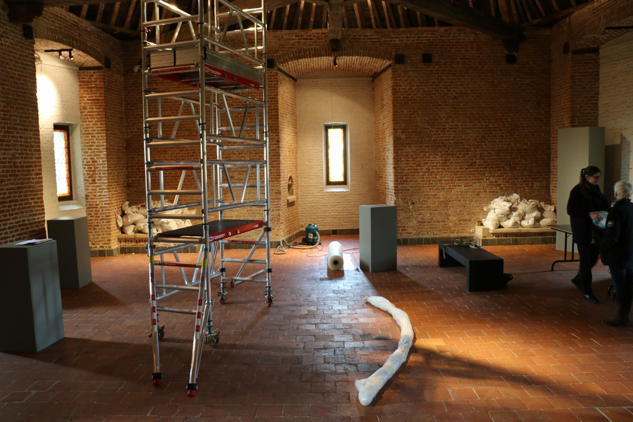 2/11 - Exhibition-space where the installation artwork Expecting by Pipilotti Rist (2011, 2014, 2017) is being installed. The artwork was on loan for the exhibition Kairos Castle: The Art of the Moment at Gaasbeek Castle, Belgium, 2017.