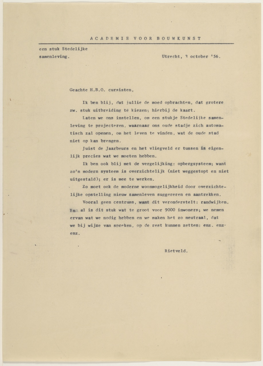 3/8 - Gerrit Rietveld over Kanaleneiland. Brief uit 1956.