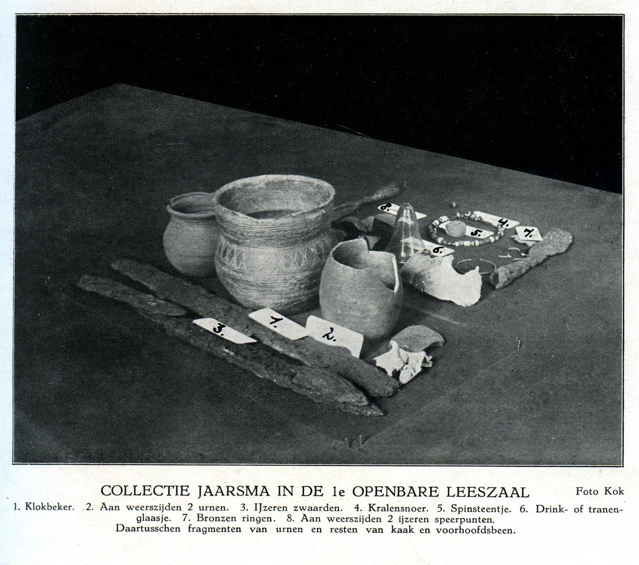 10/13 - De archeologische collectie van Menno Jaarsma, afkomstig uit een vroeg-middeleeuws grafveld. Bron: Gedenkboek Hilversum 1424-1924 pag. 8b, collectie Gemeente Hilversum.