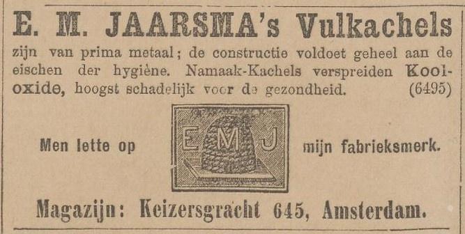 5/13 - Advertentie voor E.M. Jaarsma vulkachels op 21-11-1896 in de 'Kleine Courant, Het nieuws van den dag'.