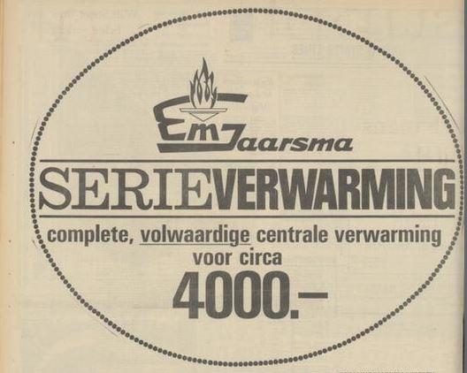 9/13 - Advertentie voor Jaarsma's centrale verwarmingssysteem in Het Parool, 31-12-1966.